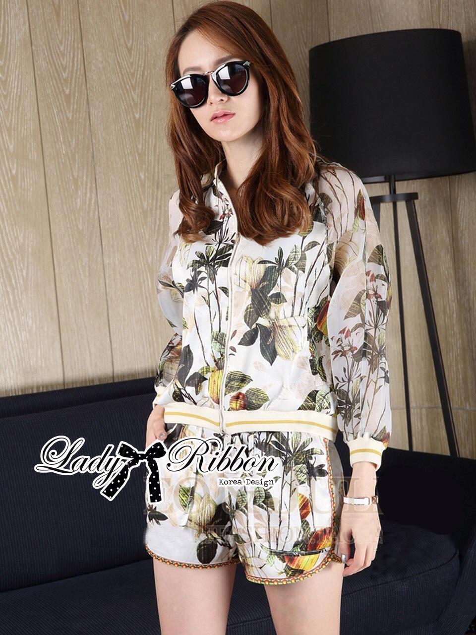 Lady Ribbon Set เซ็ตเสื้อแจ๊คเก็ต กางเกงขาสั้นพิมพ์ลายดอกไม้