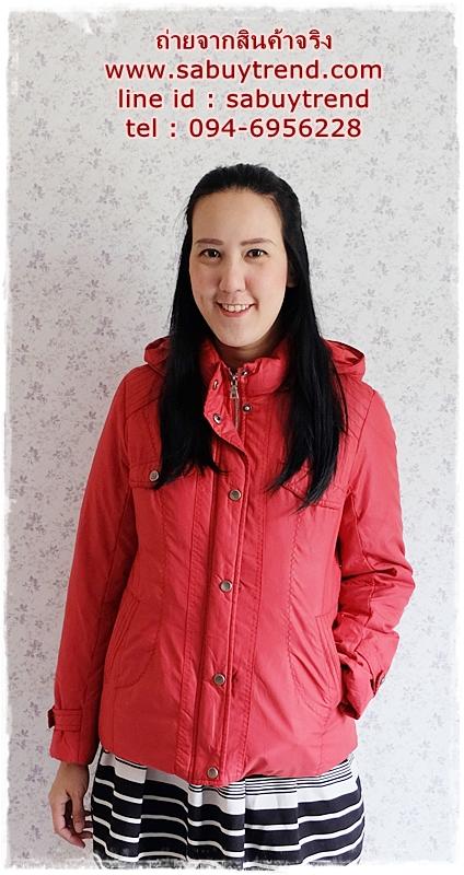 ((ขายแล้วครับ))((คุณกานต์ธิดาจองครับ))ca-2815 เสื้อแจ๊คเก็ตขนเป็ดสีแดง รอบอก40