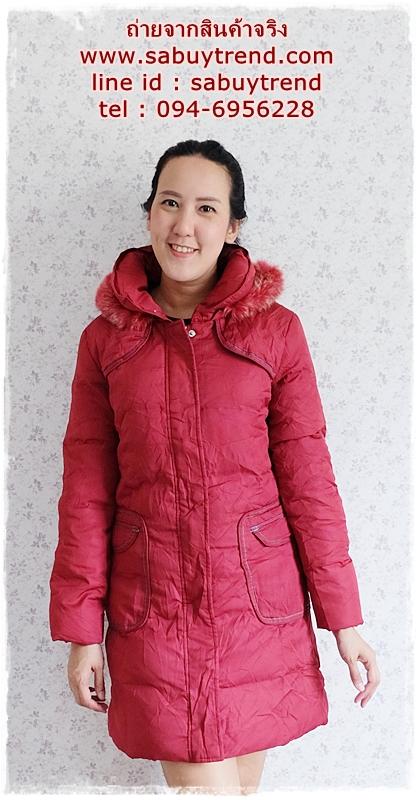 ((ขายแล้วครับ))((จองแล้วครับ))ca-2802 เสื้อโค้ทขนเป็ดสีแดง รอบอก38