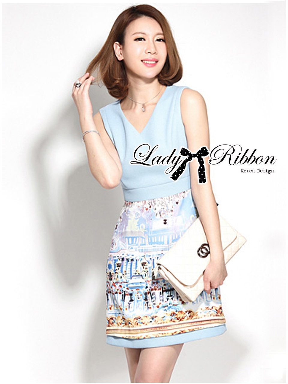 Lady Ribbon Roman Print Dress in Baby Blue