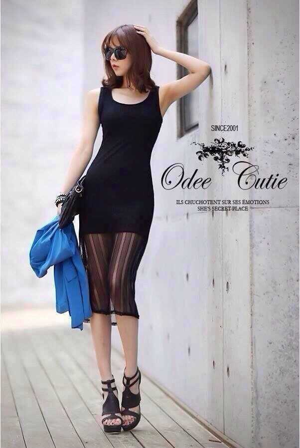 Korean Spot Sexy Nightclub Dress เดรสแขนกุดผ้าตาข่ายสีดำ