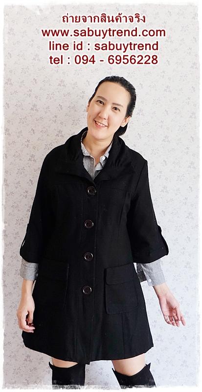((ขายแล้วครับ))((คุณTikจองครับ))ca-2711 เสื้อโค้ทกันหนาวผ้าสีดำ รอบอก41