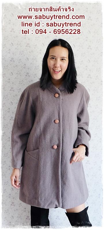 ((ขายแล้วครับ))((คุณdestinyจองครับ))ca-2571 เสื้อโค้ทกันหนาวผ้าวูลสีเทา รอบอก46