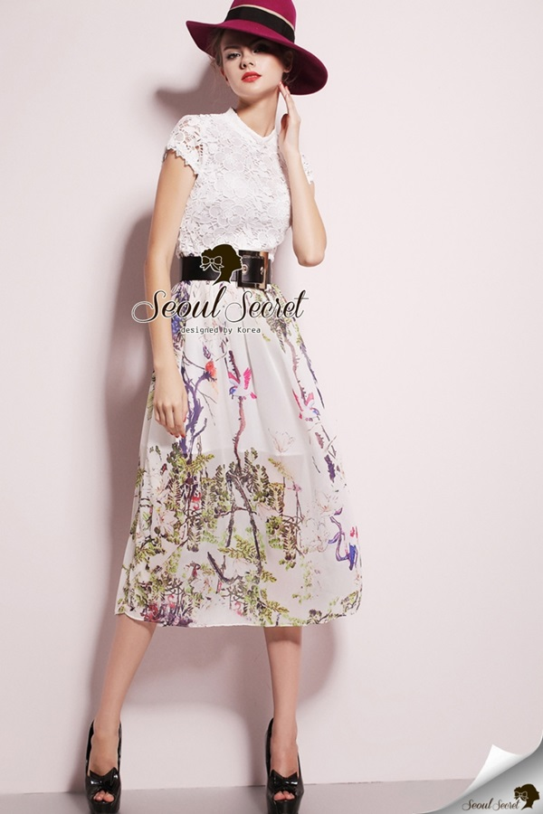 Seoul Secret Fashionista Forest Skirt Long Dress