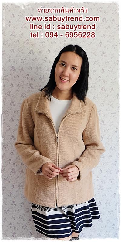 ((ขายแล้วครับ)) ca-2557 เสื้อโค้ทกันหนาวผ้าวูลสีกากี รอบอก41