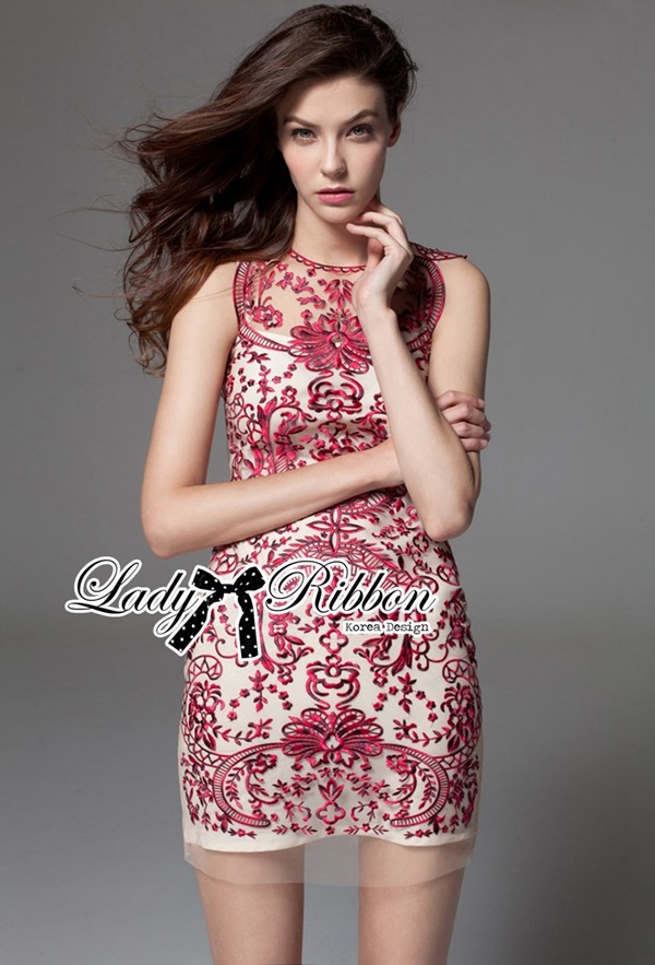 Lady Ribbon Sexy Elegant Embroidered Red Organza Dress