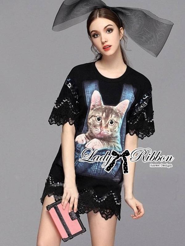 Lady Ribbon Kitty Printed Insert Lace Jersey Dress