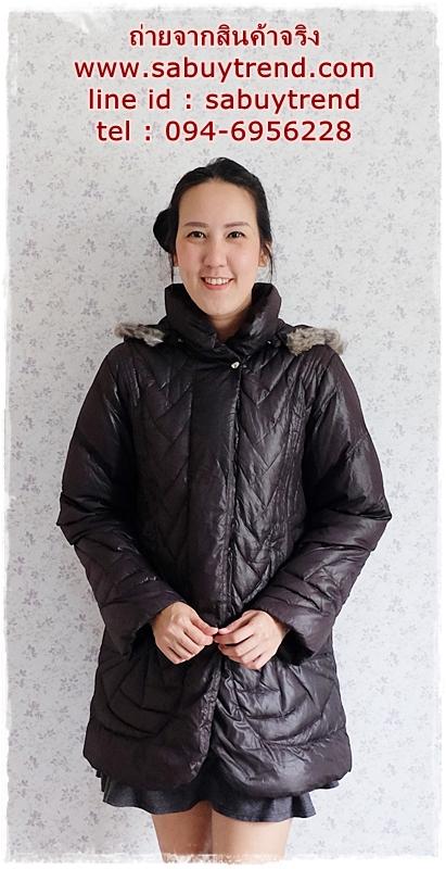 ((ขายแล้วครับ))((จองแล้วครับ))ca-2918 เสื้อโค้ทขนเป็ดสีดำ รอบอก42