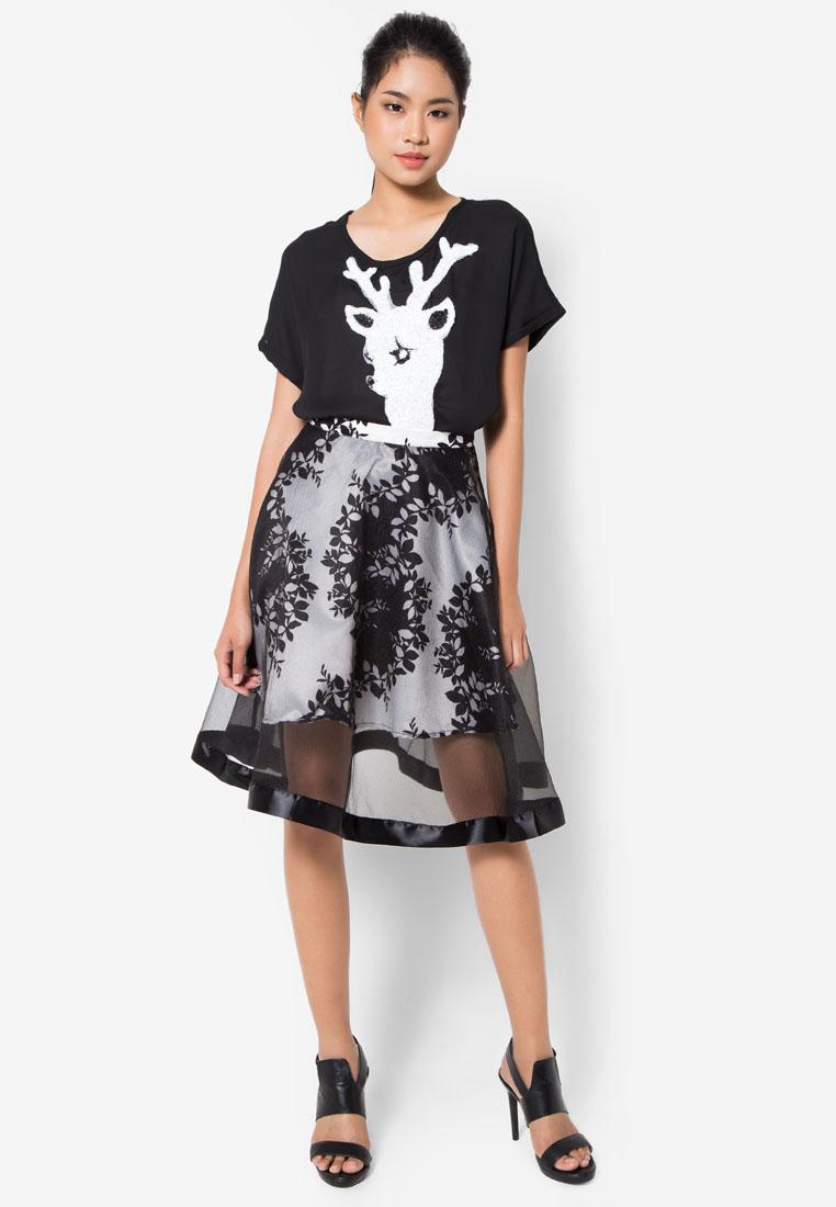 เซ็ตเสื้อและกระโปรง Deer Sequin