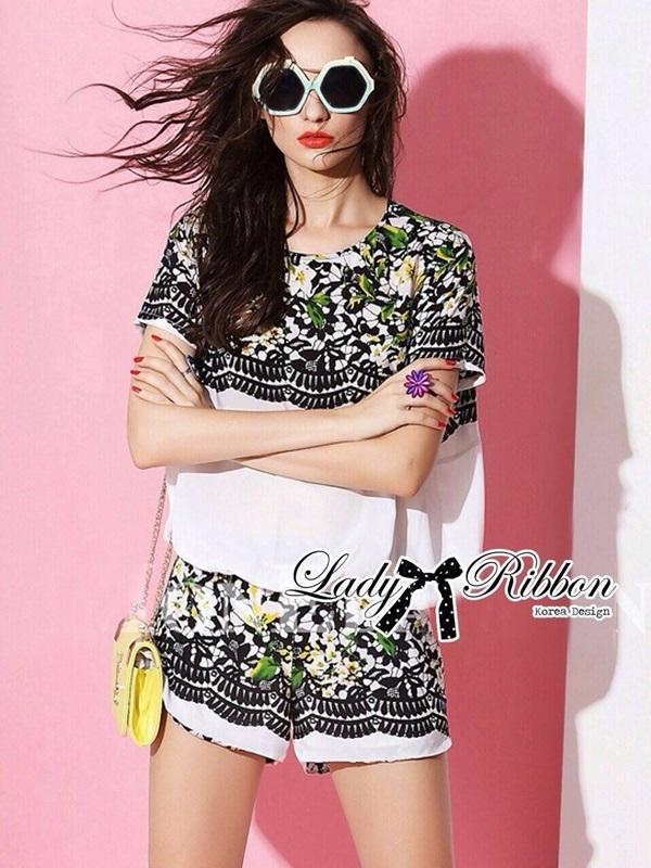 Lady Ribbon Set เซ็ตเสื้อแขนสั้นและกางเกงขาสั้นพิมพ์ลายดอกไม้