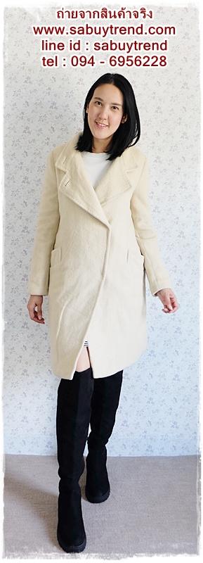 ((ขายแล้วครับ))((คุณWalintraจองครับ))ca-2659 เสื้อโค้ทกันหนาวผ้าวูลสีครีม รอบอก38