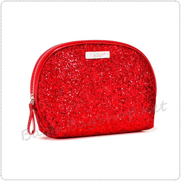&#x2764️ VS Love Shimmer Large Pouch - Red