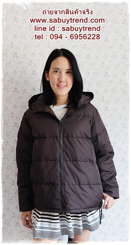 ((ขายแล้วครับ))((คุณTadaจองครับ))ca-2574 เสื้อแจ๊คเก็ตกันหนาวผ้าร่มขนเป็ดสีดำ รอบอก46