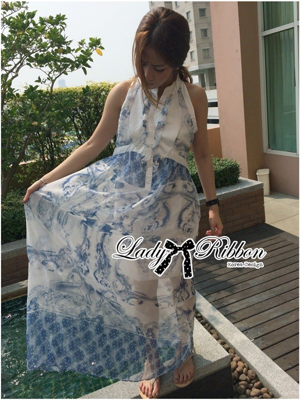 Lady Ribbon Blue Print Maxi Dress