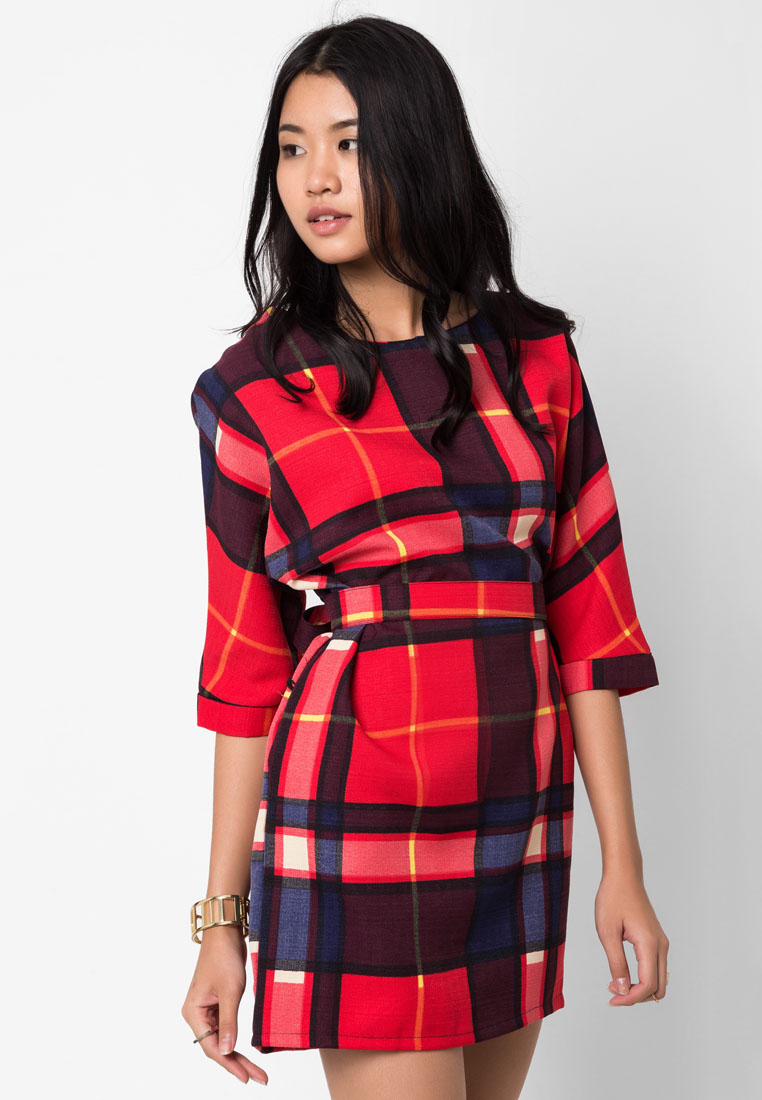 ชุดเดรส Textured Plaid with Sash Tie