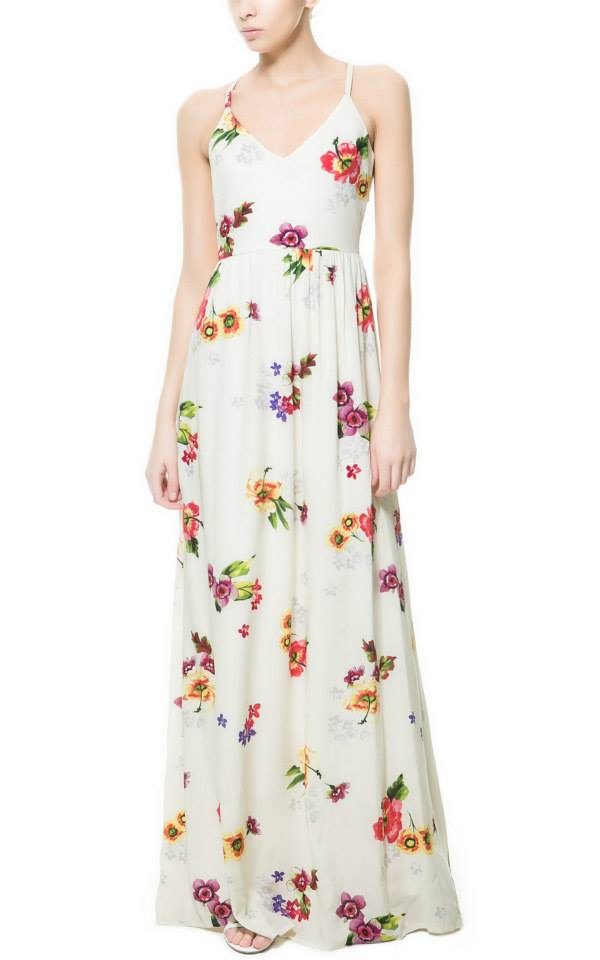 ZARA Maxi Dress ผ้าพิมพ์ลายดอกสีสดใส เว้าหลัง S,M,L
