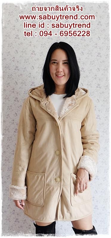 ((ขายแล้วครับ))((คุณdektayจองครับ))ca-2596 เสื้อโค้ทกันหนาวผ้าชามัวร์สีไข่ไก่ รอบอก42