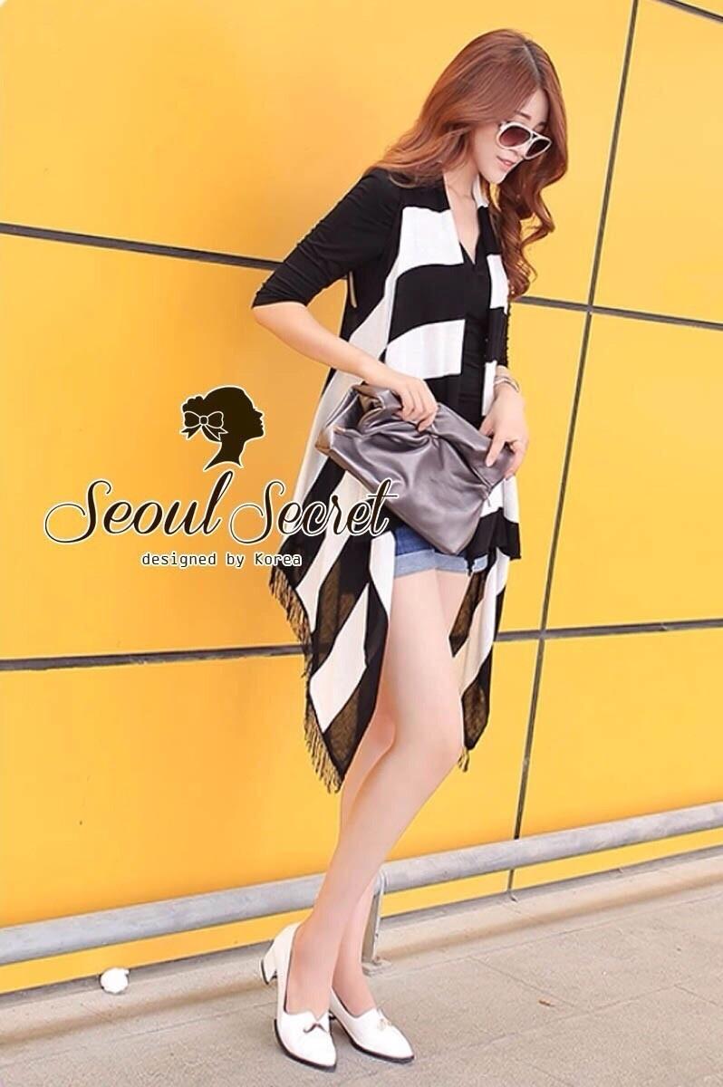 Seoul Secret เสื้อกั๊กไหมพรมแขนกุด ทรงหน้าสั้น หลังยาว