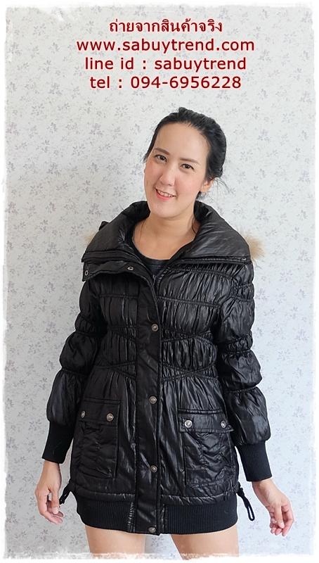 ((ขายแล้วครับ))((จองแล้วครับ))ca-2737 เสื้อโค้ทกันหนาวสีดำ รอบอก34-36