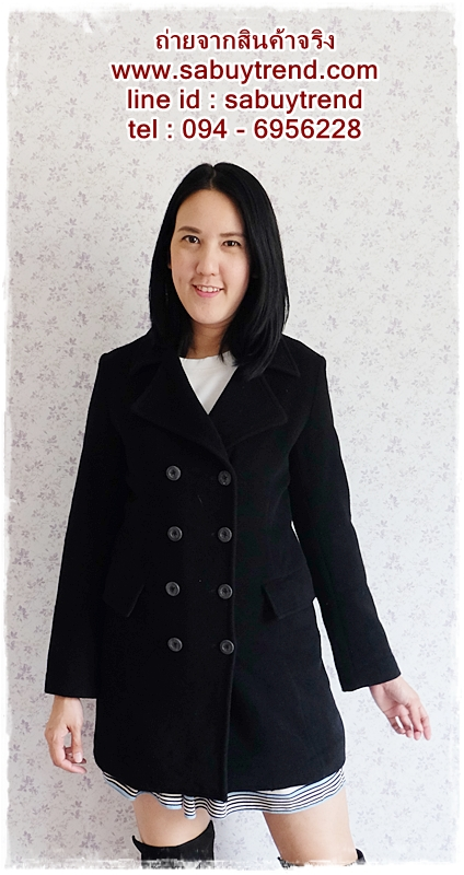 ((ขายแล้วครับ))((คุณทัศนีย์จองครับ))ca-2584 เสื้อโค้ทกันหนาวผ้าวูลสีดำ รอบอก36