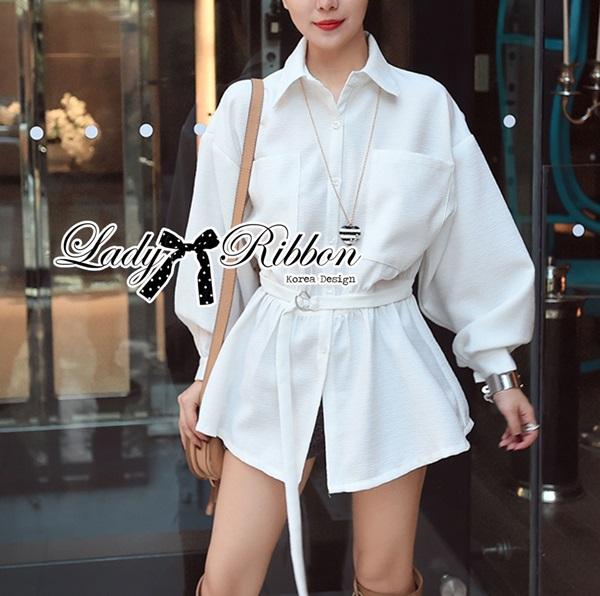 Lady Ribbon White Shirt Dress with Belt