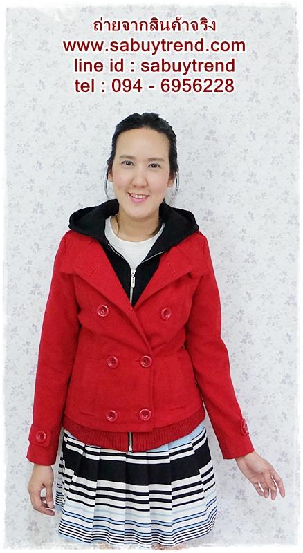 ((ขายแล้วครับ))((คุณปนัดดาจองครับ))ca-2617 เสื้อโค้ทกันหนาวผ้าวูลสีแดง รอบอก33