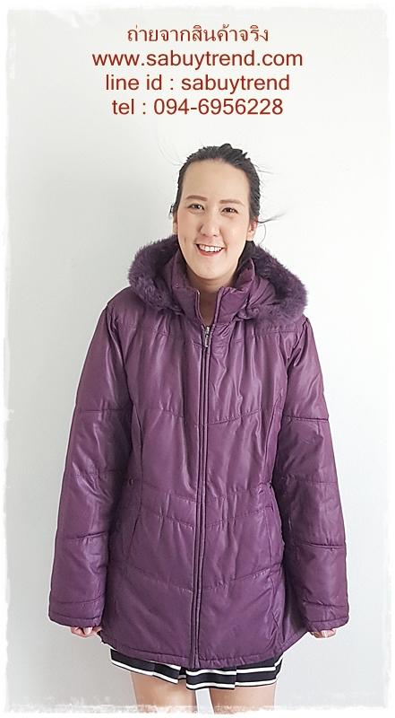 ((ขายแล้วครับ))((จองแล้วครับ))ca-2969 เสื้อโค้ทกันหนาวผ้าร่มสีม่วง รอบอก48