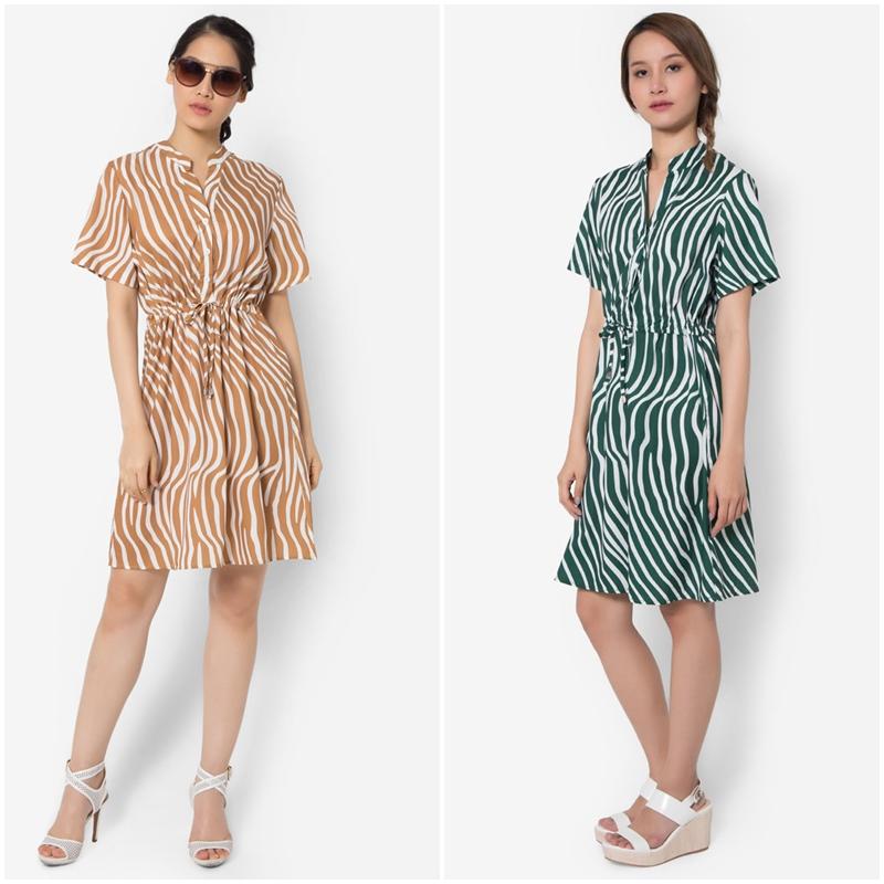 ชุดเดรส Swirl Stripe Luxe