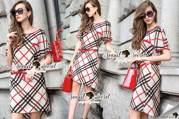 Seoul Secret Burberry Red Ribbon Dress
