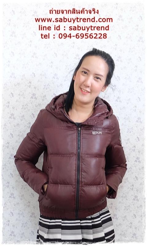 ((ขายแล้วครับ))((จองแล้วครับ))ca-2746 เสื้อแจ๊คเก็ตขนเป็ดสีเปลือกมังคุด รอบอก38