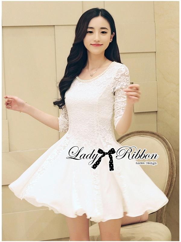 Lady Ribbon Classic Lace Jersey Dress in White