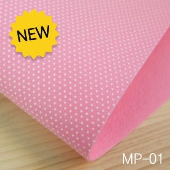 ผ้าสักหลาดเกาหลี สีพื้น 2.0 mm ขนาด 45x36 cm/ชิ้น (Pre-order) MP-01 Dot กันลื่น สีชมพู