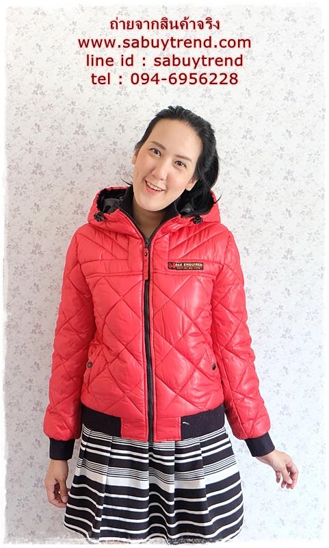 ((ขายแล้วครับ))((จองแล้วครับ))ca-2726 เสื้อแจ๊คเก็ตกันหนาวสีแดง รอบอก38