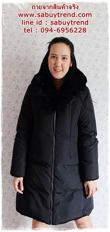 ((ขายแล้วครับ))((คุณNoonจองครับ))ca-2816 เสื้อโค้ทขนเป็ดสีดำ รอบอก40