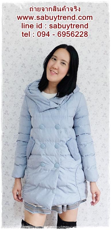 ((ขายแล้วครับ))((คุณอาภาภรณ์จองครับ))ca-2609 เสื้อโค้ทกันหนาวผ้าร่มสีฟ้าอ่อน รอบอก38