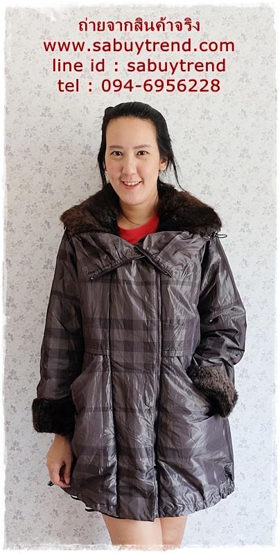 ((ขายแล้วครับ))((คุณบีจองครับ))ca-2839 เสื้อโค้ทกันหนาวผ้าร่มลายเทาดำ รอบอก41