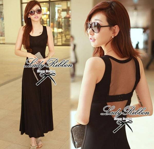 Lady Ribbon Maxi Dress เดรสยาวแขนกุด เปิดหลัง สีเทา สีดำ