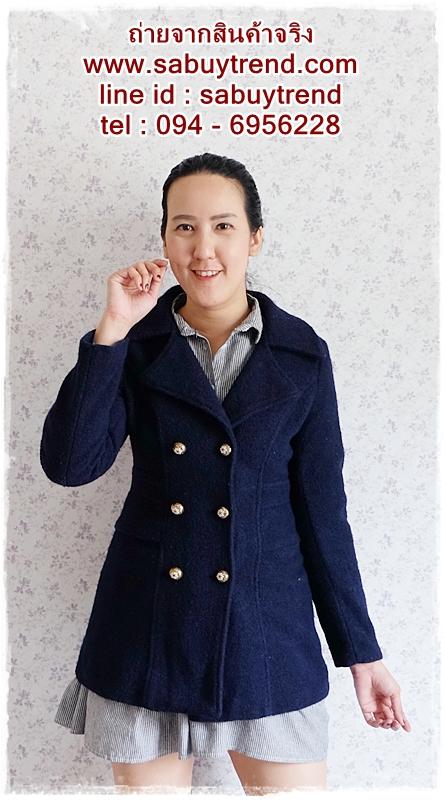((ขายแล้วครับ))((คุณGingจองครับ))ca-2709 เสื้อโค้ทกันหนาวผ้าวูลสีกรมท่า รอบอก34