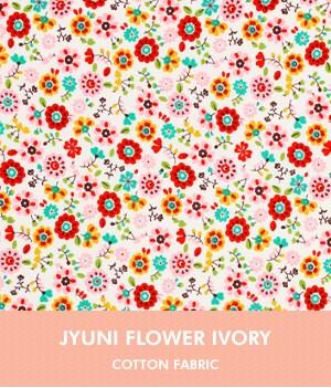 ผ้าคอตต้อนเกาหลี ลาย JUNI FLOWER IVORY ผ้าฝ้าย 100% ตัดขายขนาดผ้าเริ่ม 1/4 (45x56.5 cm)
