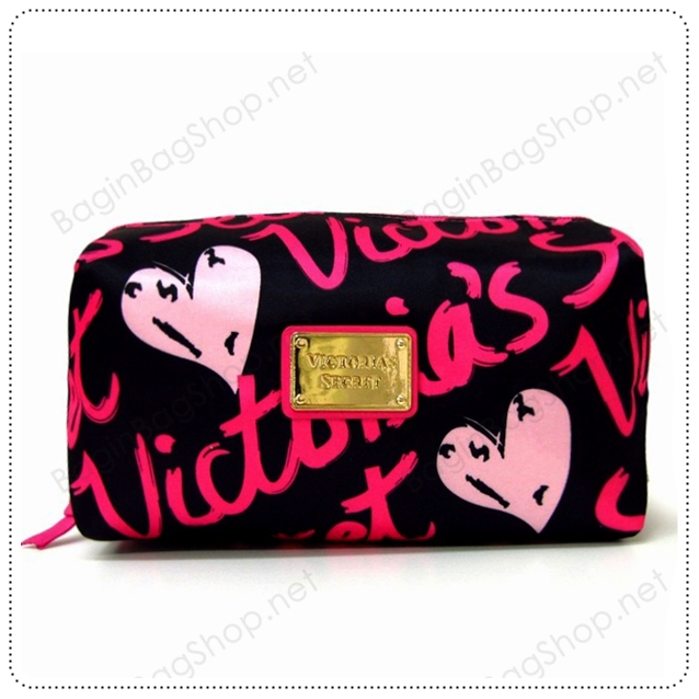 &#x2764️ VS Signature Print Hot Pink with Black Cosmetic Pouch