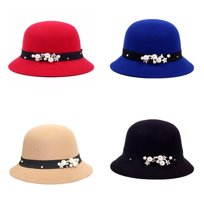 หมวก Bowler Pearl Decorative