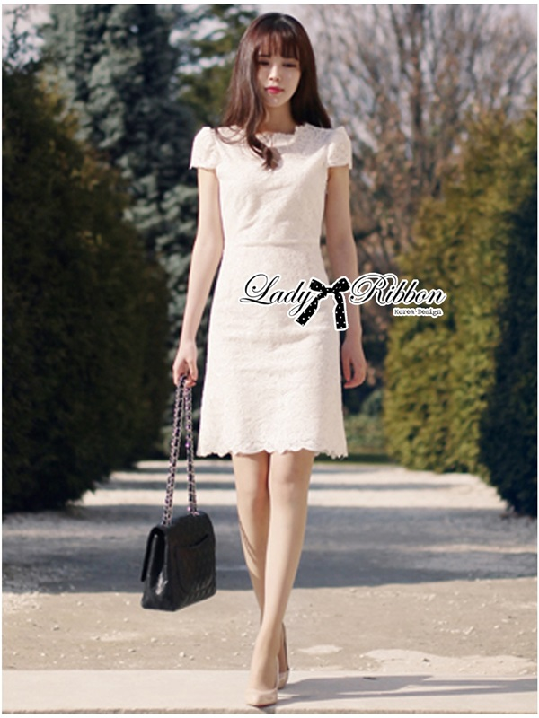 Lady Ribbon High Classy See-Through Lace Dress in White