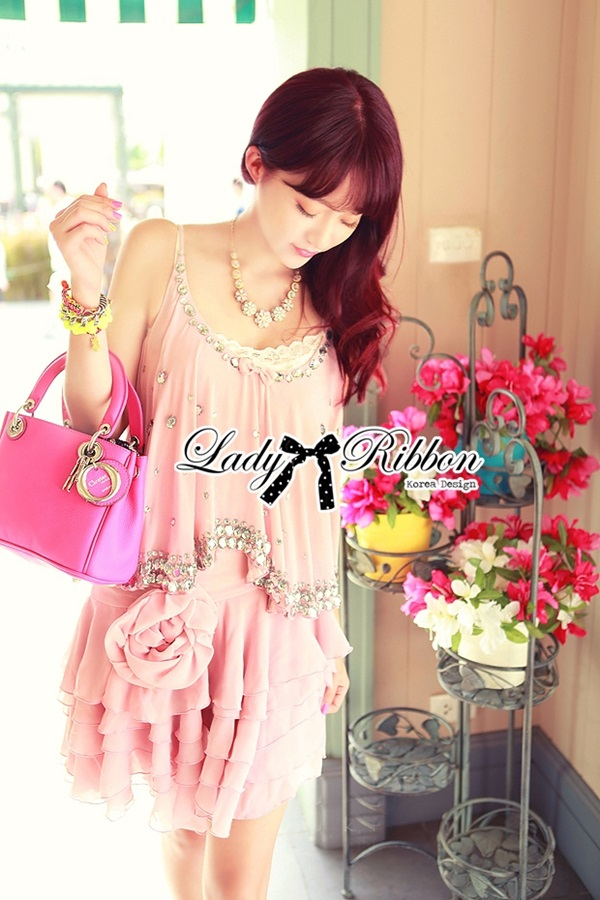 Lady Ribbon Elegant Crystal Embellish Dress