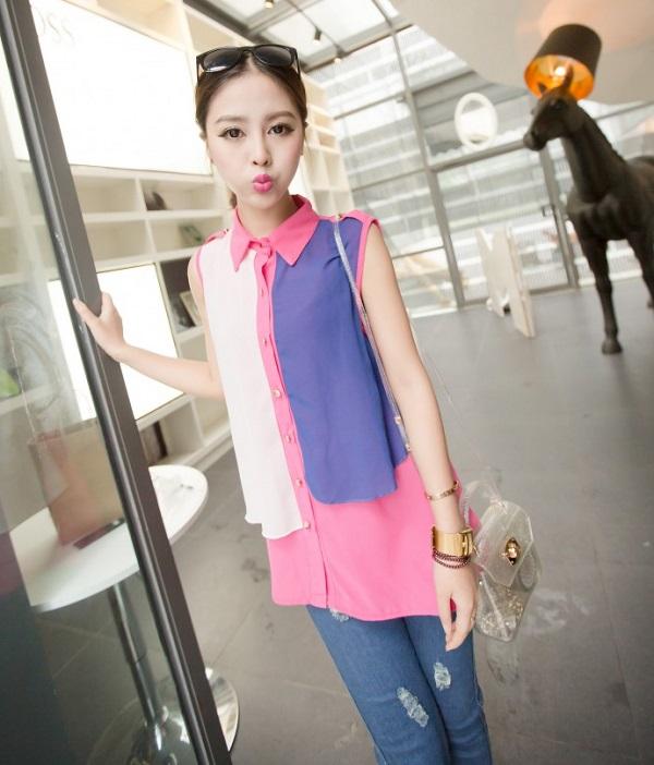 เสื้อชีฟองสีชมพู ชายเสื้อด้านหน้าสั้น ด้านหลังยาว