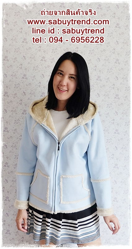 ((ขายแล้วครับ))((คุณTadaจองครับ))ca-2591 เสื้อแจ๊คเก็ตกันหนาวผ้าชามัวร์สีฟ้า รอบอก43