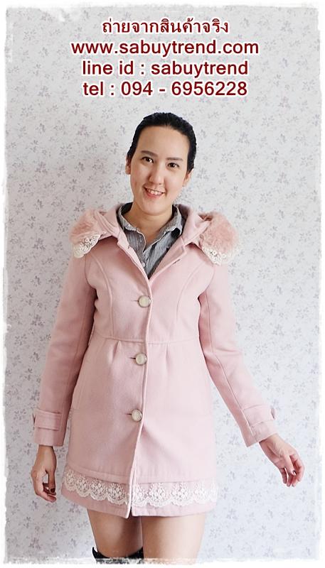 ((ขายแล้วครับ))((คุณSapsudaจองครับ))ca-2710 เสื้อโค้ทกันหนาวผ้าวูลสีชมพู รอบอก34