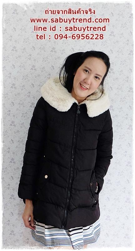 ((ขายแล้วครับ))((จองแล้วครับ))ca-2795 เสื้อโค้ทกันหนาวผ้าร่มสีดำ รอบอก37