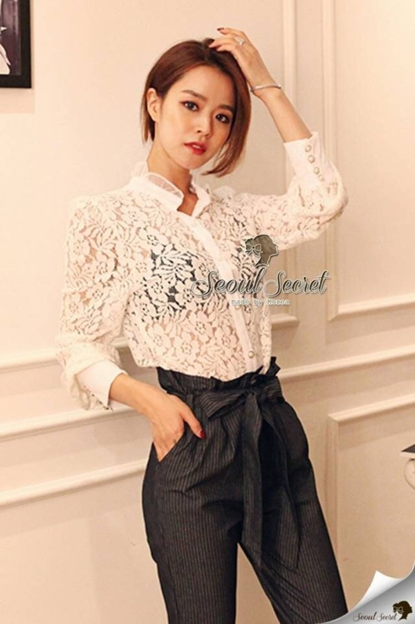 Seoul Secret Smart Ivory Lace Shirt