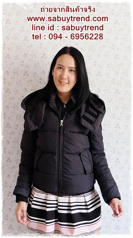 ((ขายแล้วครับ))((คุณMeeจองครับ))ca-2686 เสื้อโค้ทกันหนาวผ้าร่มขนเป็ดสีดำ รอบอก36-38