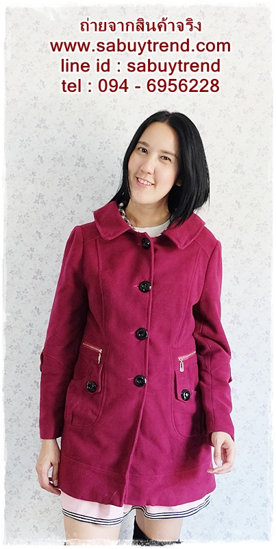 ((ขายแล้วครับ))ca-2657 เสื้อโค้ทกันหนาวผ้าวูลสีม่วงบานเย็น รอบอก38